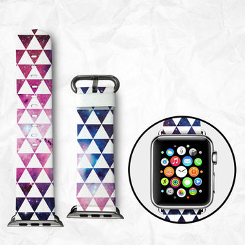 Handmade Apple Watch Strap 38/42mm - Colourful Triangles (BBSW012)