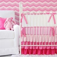 Girly Zig Zag Ruffle Crib Bedding Set