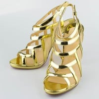 NWT CHRISTIAN LOUBOUTIN Gold Leather Nicole K 120 Specchio Sandal 9.5/39.5 $1025