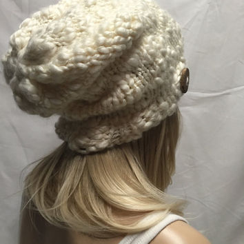 Knit Slouchy Hat Beanie Cream Chunky Oversized With Wood Button Warm And Cozy