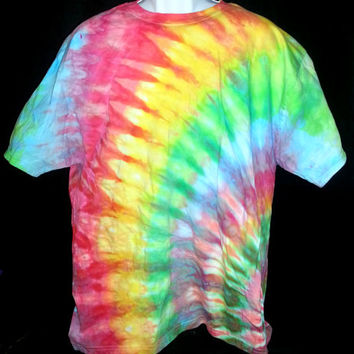 Hand Dyed Tie Dye Multi Color Shirt XL (Ice Dye) | Hanes Beefy-T 6.1oz.  Shirt Adult Unisex