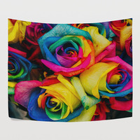 Rainbow Colorful Rose Tapestry Wall Hanging Nature Flower Blossoms Wall Decor Art for Bedroom Living Room and Dorm