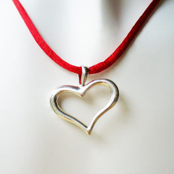 Joyous Heart Pendant Necklace | Sterling Silver Heart on Red Satin Neckcord, Valentine's Day Gift Idea for Her, Girlfriend Gift