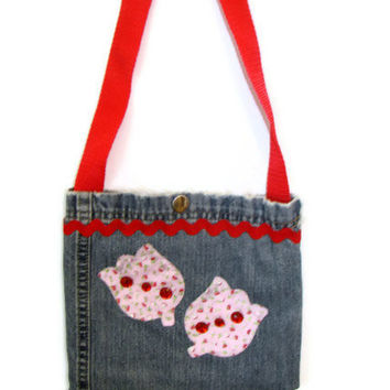 Denim Tote Purse  Pink and Red
