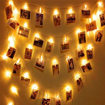 Aimbinet 2.5M 20led Card Photo Clip String Battery Christmas String Light Courtyard Garden Home Party Photo wall decoration