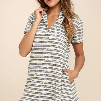 Key West Blue and Grey Striped Shirt Dress