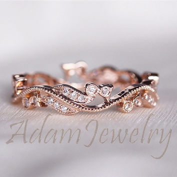 Fancy Solid 14K Rose Gold Wedding Band from AdamJewelry on Etsy