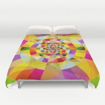 Colorful Abstract Swirly Tune Design (Fancy Fresh And Modern Hippy Style) Duvet Cover by Jeanette Rietz