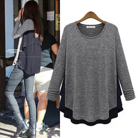 Block Asymmetrical Chiffon Sweater