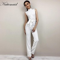 NATTEMAID 2017 Fashion sexy Womens Jumpsuit Sleeveless Lace Patchwork long Playsuits white lace up bow Overalls Bodycon Rompers