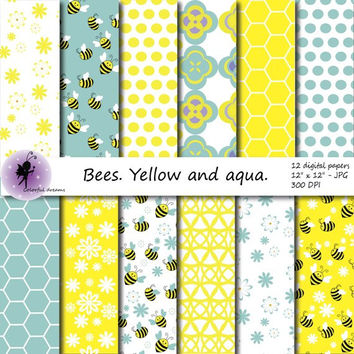 Bees Digital Paper, Summer Scrapbooking Papers, paper with Bees, Blue and Aqua background, Polka Dots Digital Paper, commercial use