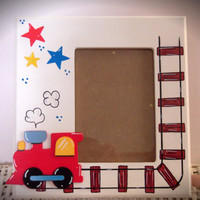 Personalized Hand Painted Frame With Train Theme