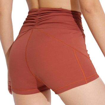 Women's High Rise Booty Yoga Shorts Compression Push Up Gym Workout Hot Shorts Slim Fit Running Short Quick Dry Activewear