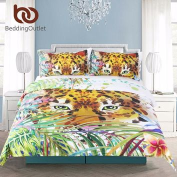 BeddingOutlet Animal Print Duvet Cover Set Intense Eyes of a Leopard Design Bedspreads Jungle Cheetah Art Bedding Set 3 Pieces