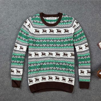 New autumn and winter couple models sweater Christmas deer knitting Korean sweater trend sweater pullover jacket