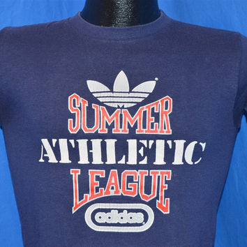 80s Adidas Summer Athletic League Navy t-shirt Youth Large