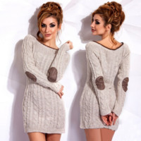 Round neck sweater women dress