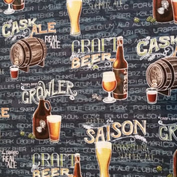 Cotton fabric, CRAFT BEER COLLAGE, by the yard, Tavern Pub Decor Retro Kitch Novelty quilting crafts Fun Fabric for Creative Genius Projects