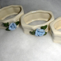 VINTAGE PORCELAIN NAPKIN Ring Set of 4 - Beautiful Tiny Blue Porcelain Roses - White Porcelain Napkin Rings With Blue Roses