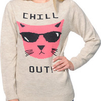 Glamour Kills Chill Out Oatmeal Knit Sweater at Zumiez : PDP