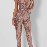 Lulu Rose Gold Sequin Jumpsuit | Pink Boutique
