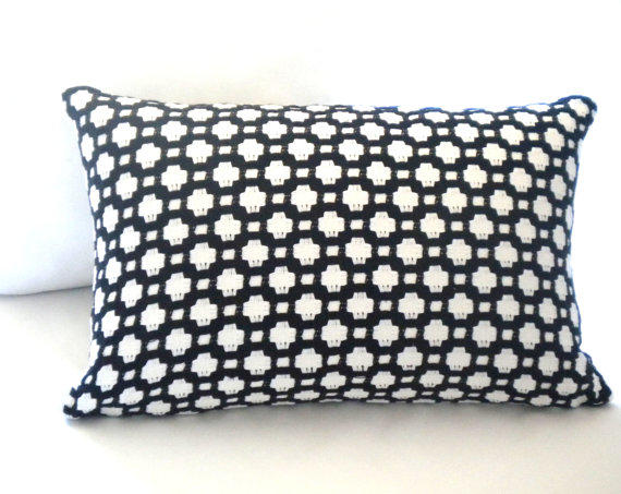 black and white lumbar pillow cover from mica blue design mica. Black Bedroom Furniture Sets. Home Design Ideas