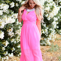 HE LOVES ME CHIFFON DRESS IN HOT PINK