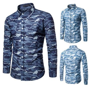 Men's Casual Camouflage Military Slim Fit Long Sleeve Shirt Top Blouse
