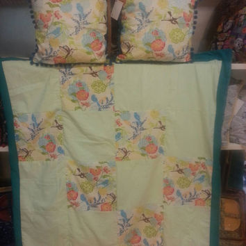 Picnic Blanket Beautiful Handmade Teal and Floral Hummingbird Quilted Blanket