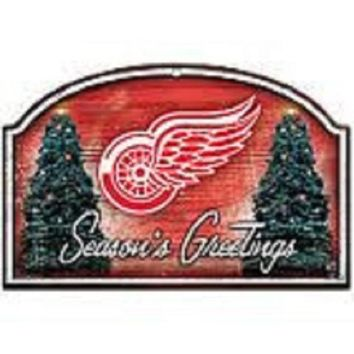 ESBON NHL Wincraft Detroit Red Wings Seasons Greetings Wooden Christmas Sign