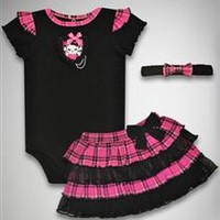Girly Skull Plaid Tutu 3-Piece Set