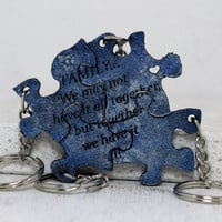 Family Puzzle Keychain Set of 4 Leather Key chains with quote