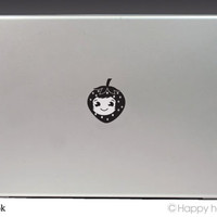 Macbook decal, Happy Strawberry, Apple decal, Macbook pro,Laptop decal,Stickers for pro/air/ipad,MacBook ipad decal,black cat,Free shipping