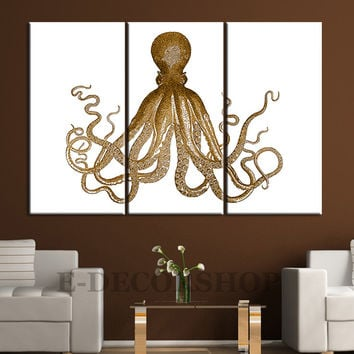 Large Wall Art Copper Canvas Print Octopus Art - Triptych Gold Octopus Art Canvas Print -  Octopus Triptych Canvas 3 Panel Set