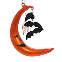 De Carlini CRESCENT MOON w/ BATS Glass Ornament Jol Halloween V3556