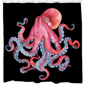 The Octopus Squid Bathroom Fun Shower Curtain