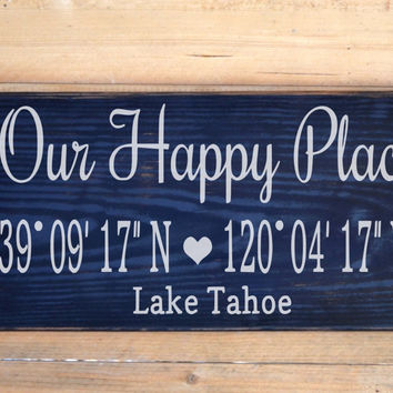 Lake Decor Personalized Beach House Family Name Sign Our Happy Place Latitude Longitude GPS