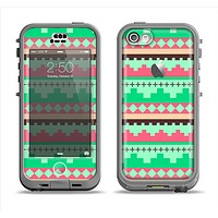 The Lime Green & Coral Tribal Ethic Geometric Pattern Apple iPhone 5c LifeProof Nuud Case Skin Set
