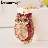 luxury keychains opal owl key chain for girls key rings womens animal keychains for keys lady bags car key pendants chains