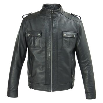 Mens Fitted Cabone Leather Jacket