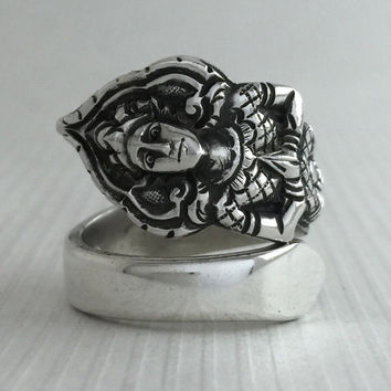 Size 7.5 Vintage Sterling Silver Buddha Spoon Ring