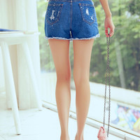 Blue Ripped High Waist Denim Shorts