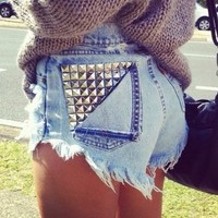 "Blu Blush:   ""A place for custom made plus size high waisted shorts"" — Studded Back Flap Pocket"