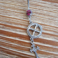 Belly Button Ring - Body Jewelry - Silver Cross with Metal Wheel and Pink Gem Belly Button Ring