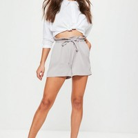 Missguided - Grey Paperbag Elasticated Waist Shorts