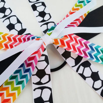 Rainbow soccer hair streamer, team hair bows, soccer ponytail ribbon hair tie, team sports, soccer bow, handball football futbol team bow
