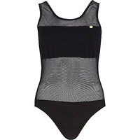 River Island Womens Black Pacha mesh panel open back swimsuit