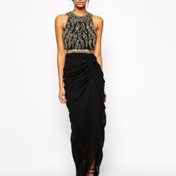 Virgos Lounge Genevieve Maxi Dress With Embellished High Neck