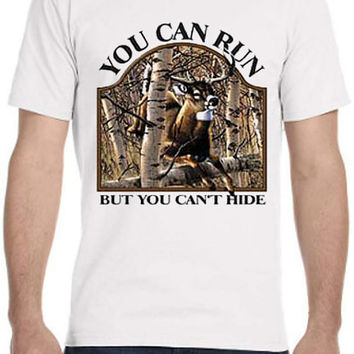 Deer Hunting Design Custom Printed T Shirt with Camo Big Buck in the Woods in all sizes for men, ladies, and juniors...Free Shipping!!