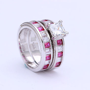 2016 hot pink jewellery for love Victoria Majestic Sensation Topaz Czech diamond 14KT White Gold Plated Wedding Band Ring Set